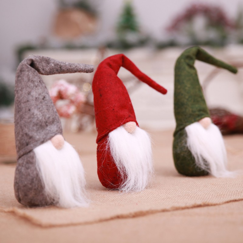 Christmas Santa Claus Tomte Long Hat Gnome Plush Doll Handmade Home Decor Toy US