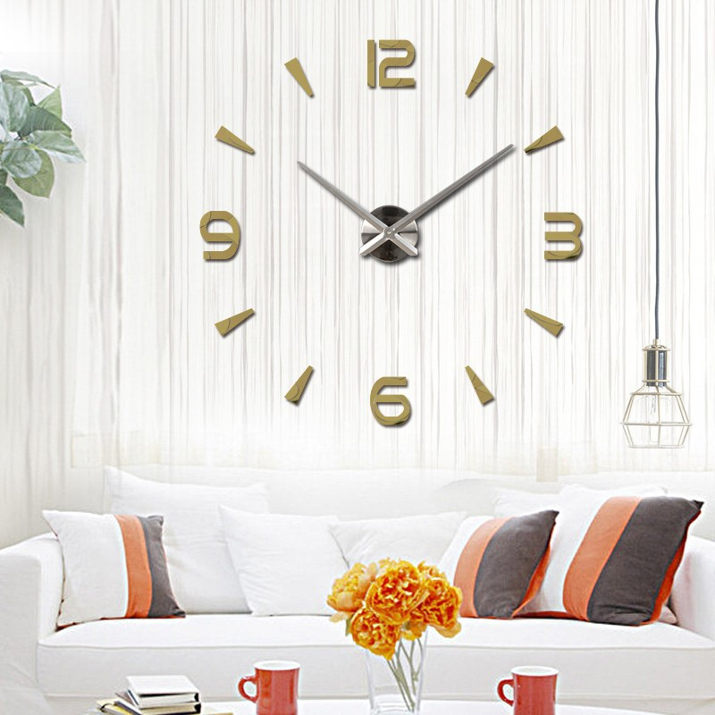 Fashion 3d Large Diy Number Mirror Wall Sticker Big Watch Home Decor