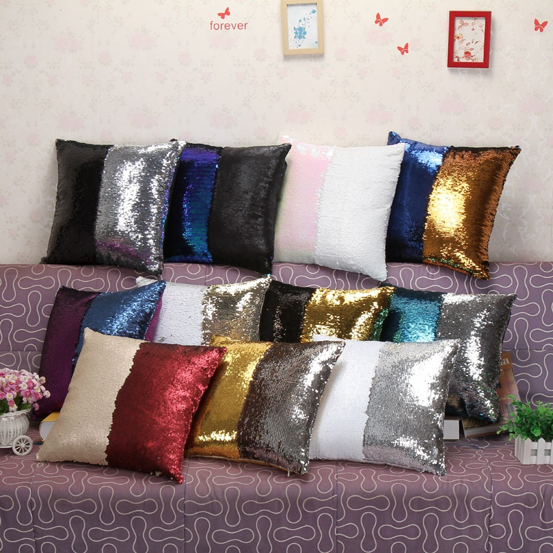 Double Sided Sofa reversible sequin mermaid sofa cushion cover double sided glitter