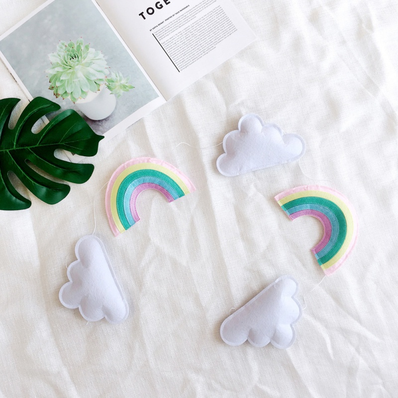 Nordic Felt Cloud Rainbow Garland Party Banner Kids Room Hanging Decor US