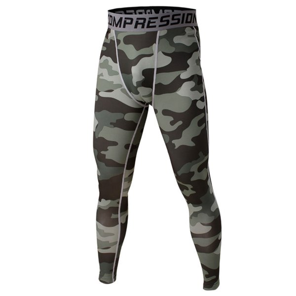 Men's Sport Compression Base Layer Long Pants Camo Printed Trousers Leggings
