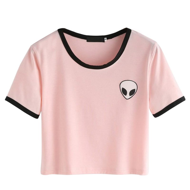 Summer short sleeve tee women casual crop top alien for Best online tee shirt printing