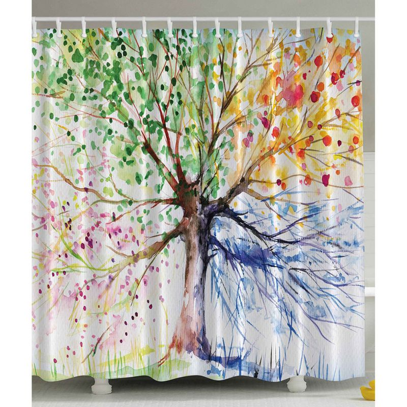 Bathroom Waterproof Multi Color Tree Pattern Fabric Shower Curtain With 12 Hooks Ebay