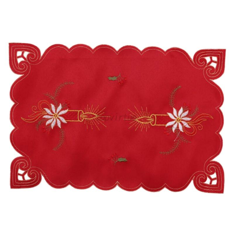 Christmas-Linen-Table-Placemats-Embroidery-Cover-Mat-Xmas-Wedding-Decor