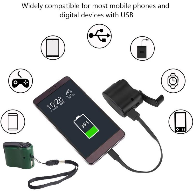 Emergency Hand Crank Dynamo Phone Generator USB Fast Chargin