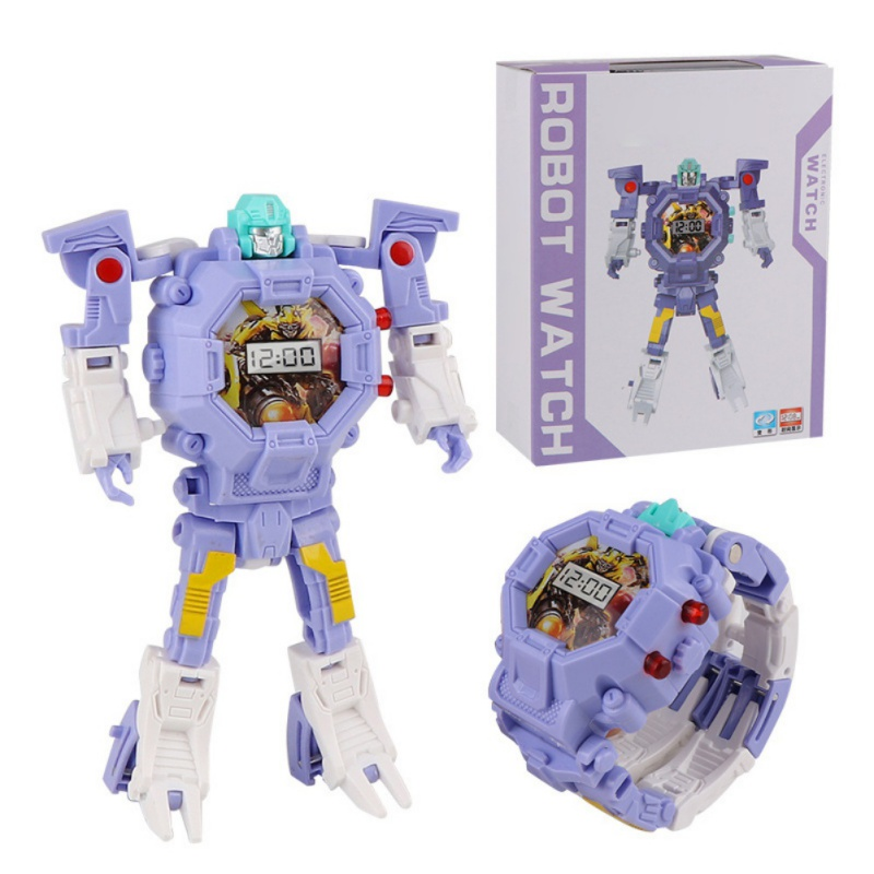 Robot-Digital-LCD-Display-Deformed-Watch-Toy-Kids-Children-Timing-Wristwatch-UK