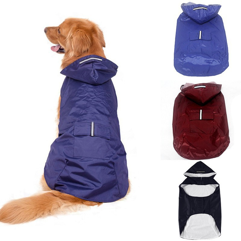 Pet Dog Reflective Waterproof Rain Coat Jacket Rainwear Pupp