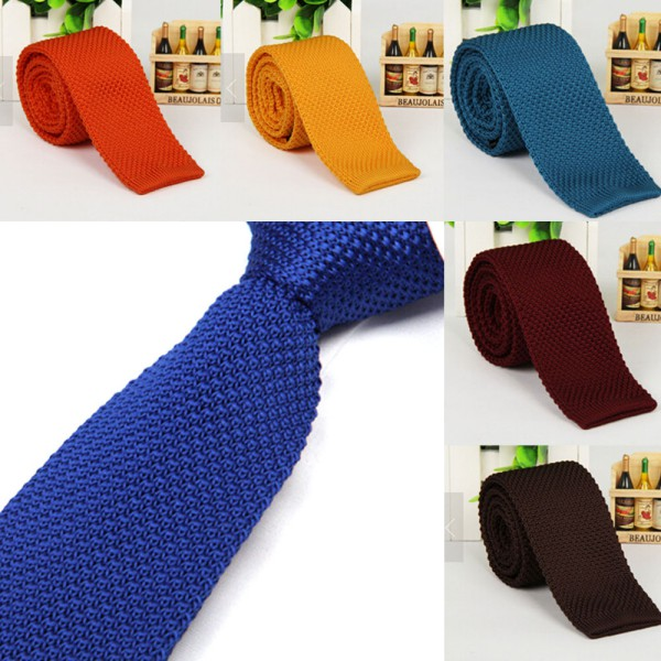 Fashion Men Knit Knitted Tie Necktie Narrow Slim Solid Casual