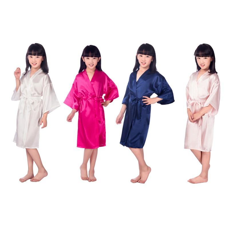 Details about Kids Girl Long Sleeve Silk Satin Kimono Robes Bathrobe  Sleepwear Night Dress US aa9f0f4a2