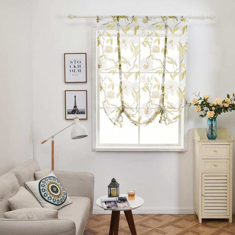 Pastoral Tie Up Rod Kitchen Sheer Curtain Tree Bird Flower