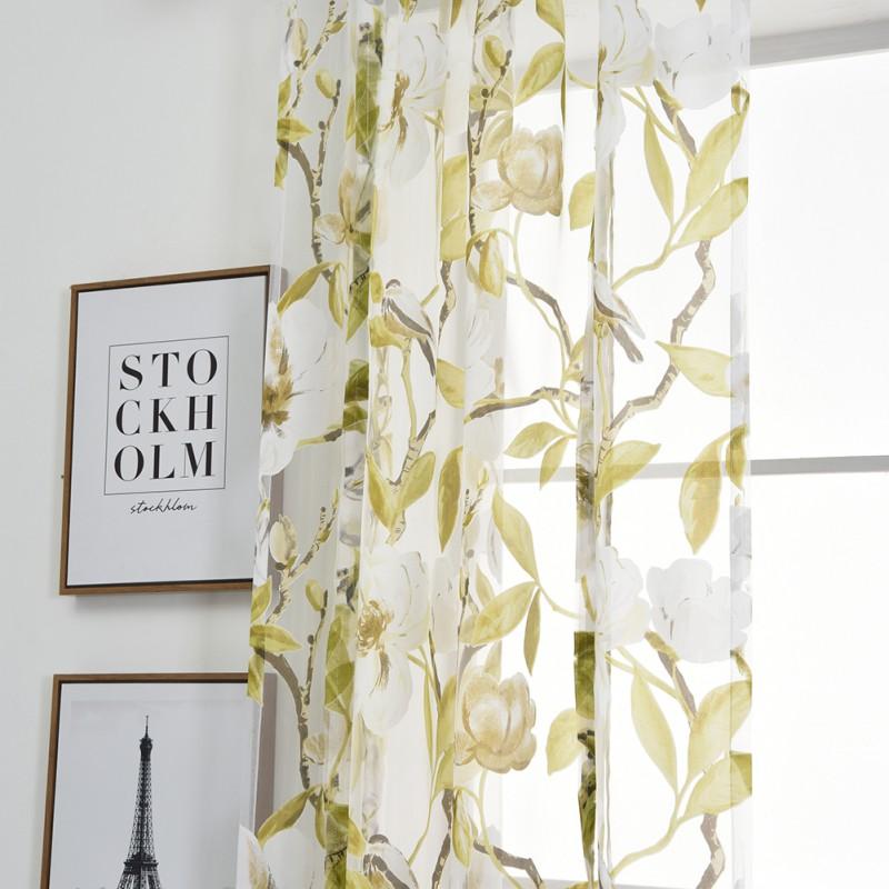 Tie Up Kitchen Curtains: Pastoral Tie Up Rod Kitchen Sheer Curtain Tree Bird Flower