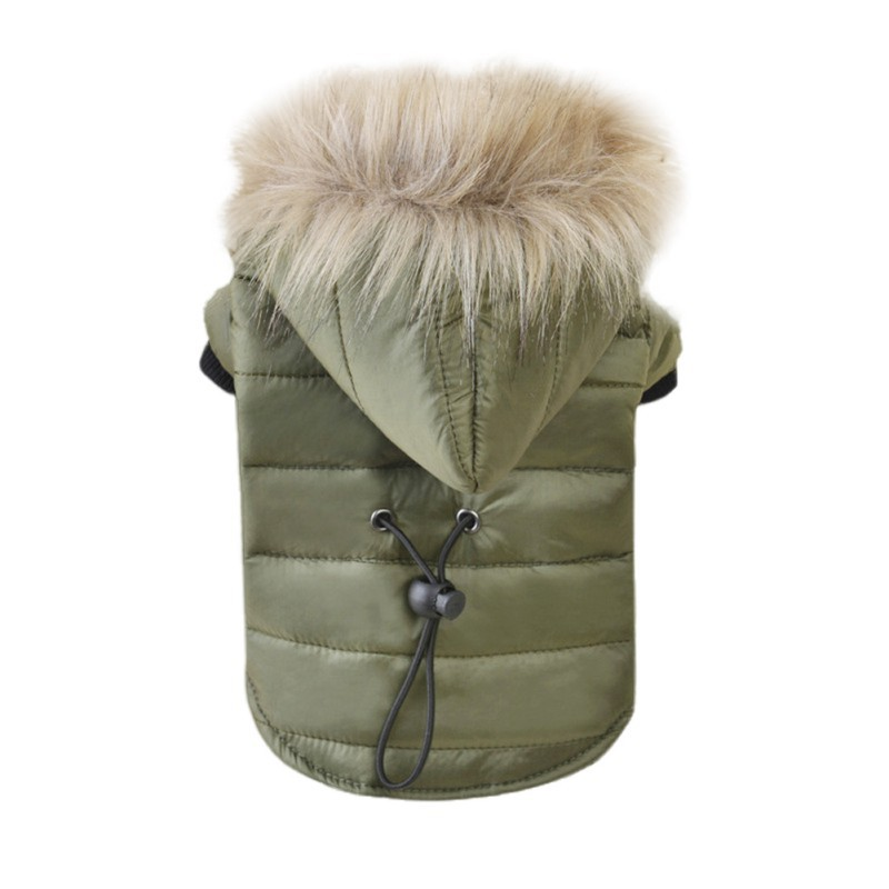 Winter-Pet-Dog-Hoodie-Down-Jacket-Puppy-Warm-Fur-Collar-Coat-Jumpsuit-Clothes-US thumbnail 12