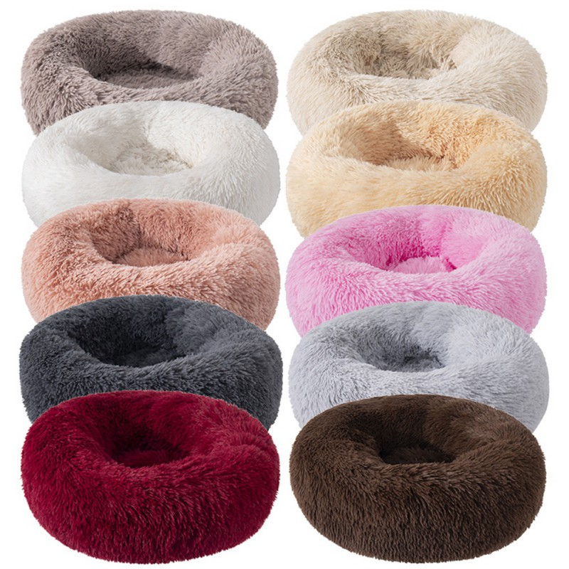 Pet Dog Cat Bed Donut Soft Plush Fluffy Warm Calming Bed Sle