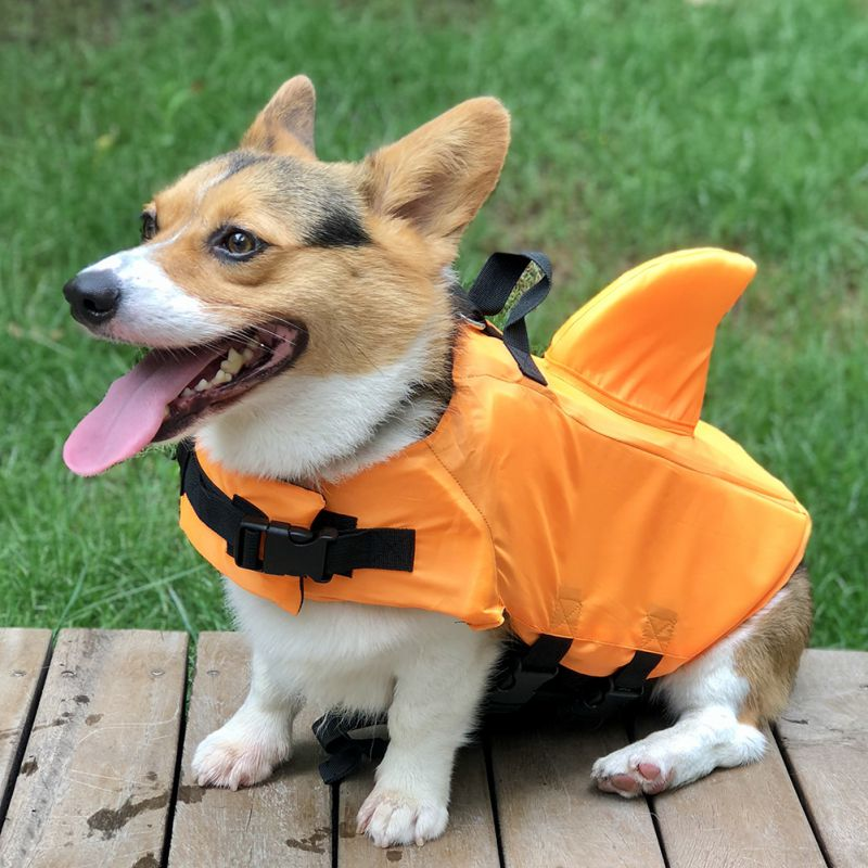 Shark Pet Dog Life Jacket Safety Clothes Swimming Float Life