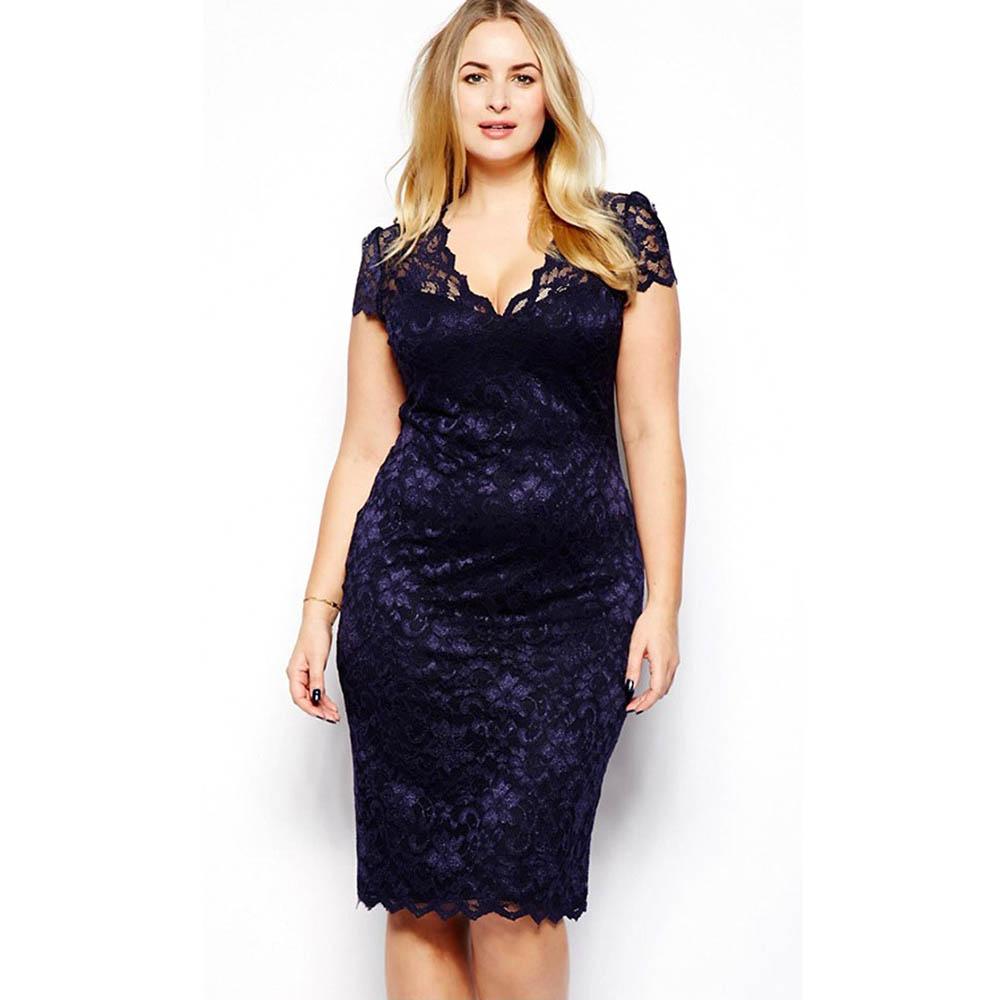 Details about Plus Size Women Sexy V Neck Lace Dress Slim Bodycon Prom Party  Cocktail Dress US fdb5b45635c7