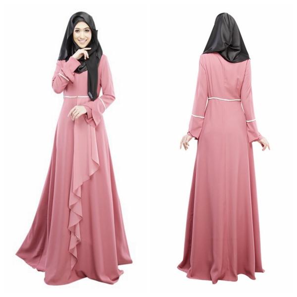 Women Muslim Cocktail Long Sleeve Maxi Dress Kaftan Abaya Jilbab