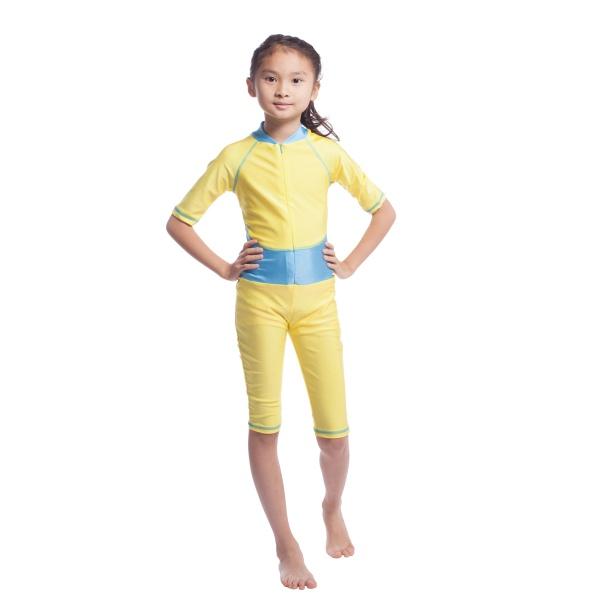 Kids Muslim Swimwear Girls Modest Full Cover Leotard Beachwear Half