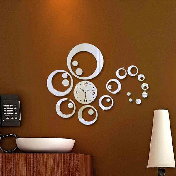 uk wall sticker 3d diy clock home office art decor concise flower