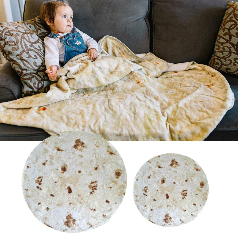Burrito Blanket Throw Tortilla Texture Soft Fleece Throw Bla