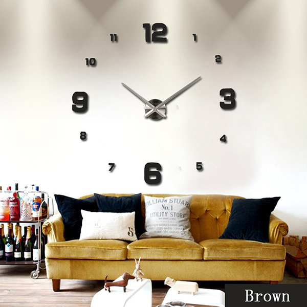 Uk diy 3d wall clock sticker mirror surface