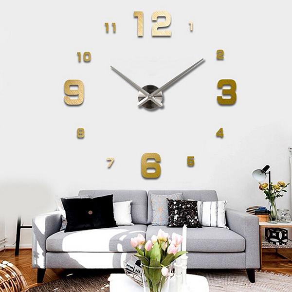 Uk diy 3d wall clock sticker mirror surface
