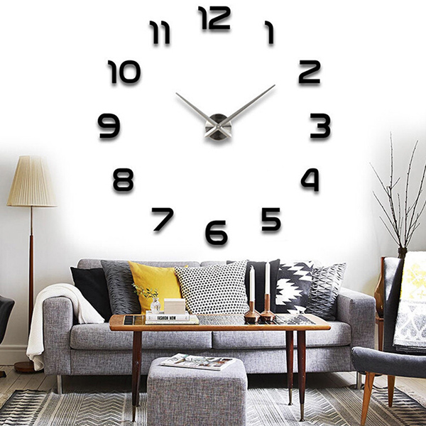 3d diy wall clock home modern decoration crystal