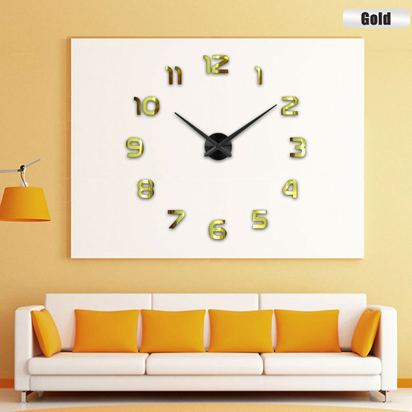 Diy 3d Large Number Mirror Wall Clock Sticker Decor For