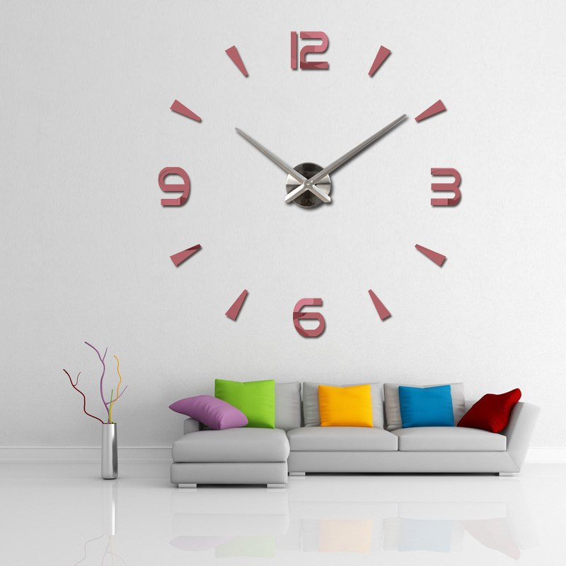 Large 3d number mirror wall clock sticker art sticker home for Stickers 3d pared