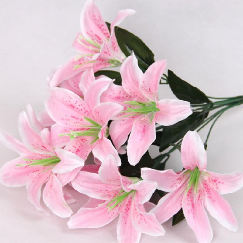 10 Heads Silk Fake Flowers Artificial Lilies Bouquet Home Wedding ...