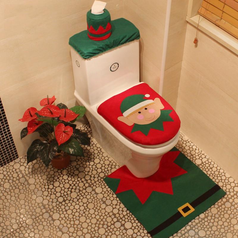 Home Cute Happy Santa Toilet Seat Cover Rug Bathroom Set Decoration ...