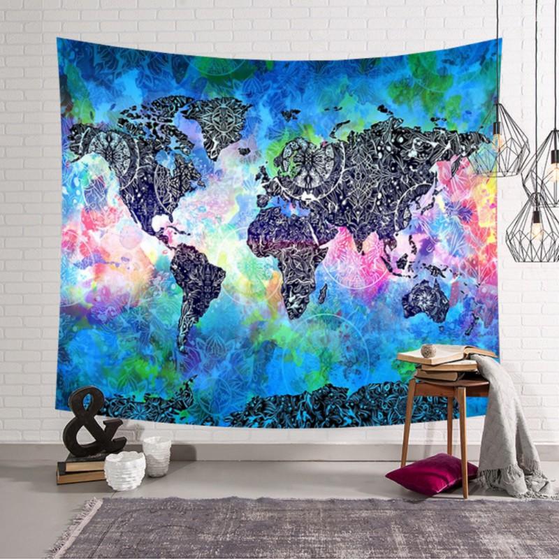 Mandala boho world map tapestry home wall hanging hippie bedspread mandala boho world map tapestry home wall hanging gumiabroncs Choice Image