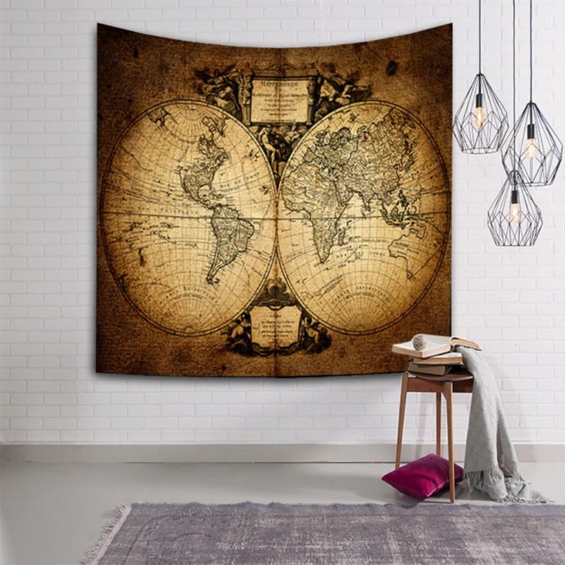 Mandala Hippie Boho World Map Tapestry Wall Hanging