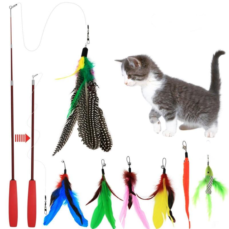 1PCS Extensible Fishing Rod Kitty Cat Stick Pet Cat Interactive Toy Random Color