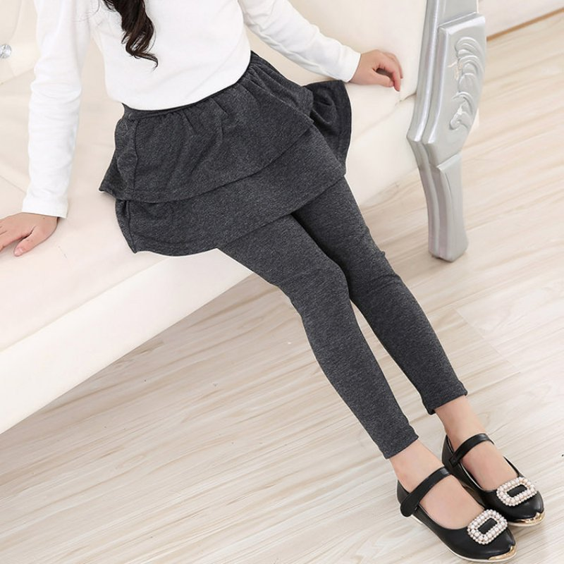 Kids Girls Warm Cute Cake Culottes Leggings With Ruffle Tutu Skirt Pants 3-11Y | eBay