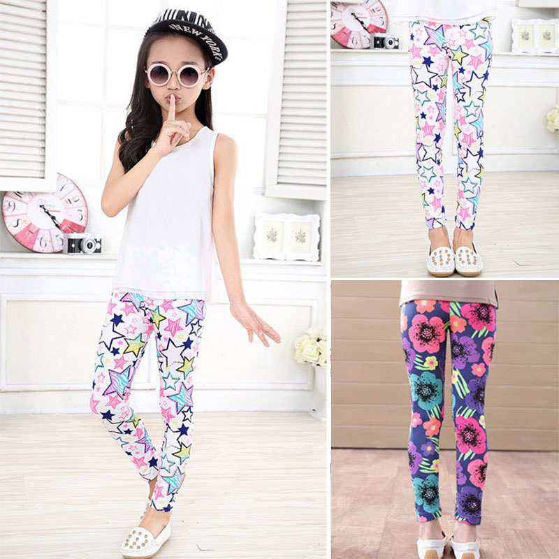 e9b6f321d3 Details about 2-14Y Kid Baby Girl Cute Legging Flower Floral Printed  Elastic Long Pant Trouser