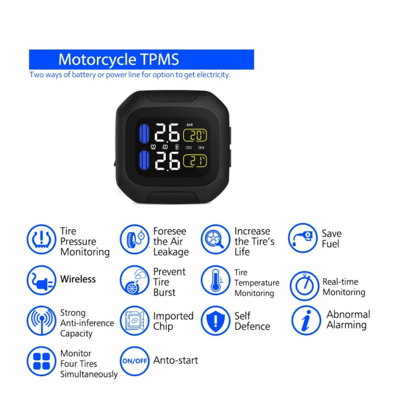 Mini Wireless Motorcycle TPMS Tire Pressure Monitor System w/ 2pc Tyre Sensor US