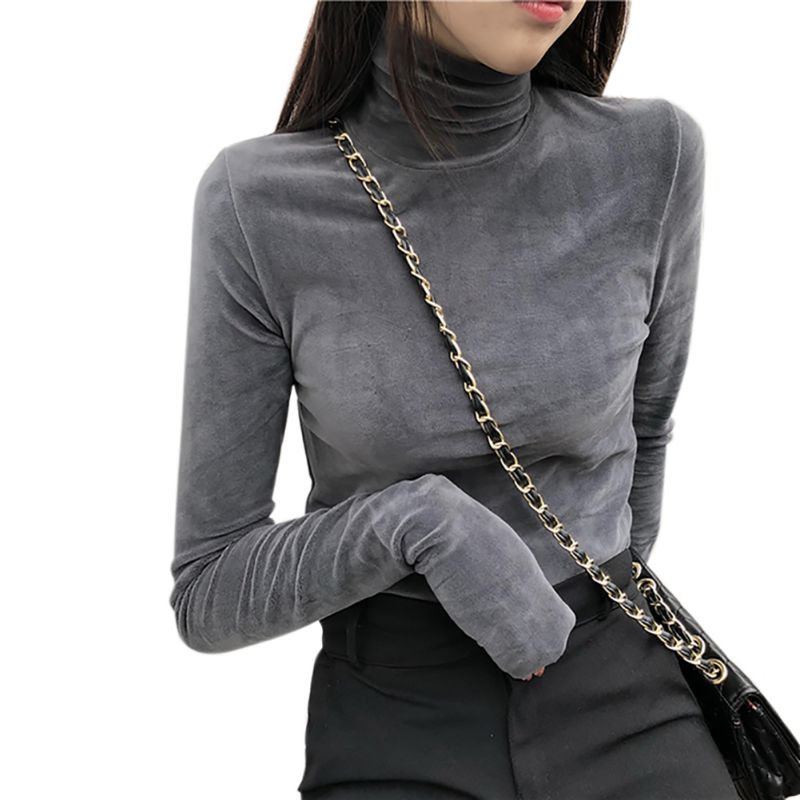 Women-Long-Sleeve-Slim-Shirt-Winter-Warm-Velvet-High-Collar-Bottoming-Top-Blouse thumbnail 13