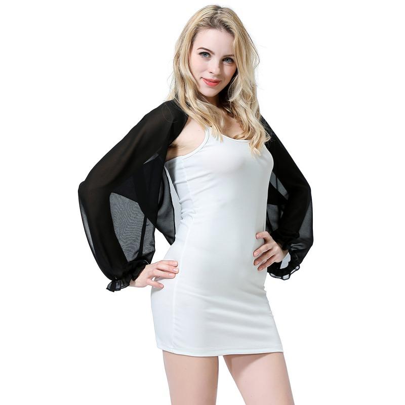 Womens-Long-Sleeve-Bolero-Shrug-Coat-Thin-Chiffon-Cropped-Cardigan-Top-Beach-Top thumbnail 23