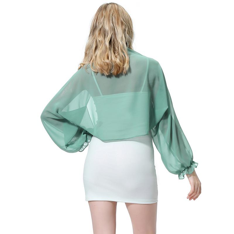 Womens-Long-Sleeve-Bolero-Shrug-Coat-Thin-Chiffon-Cropped-Cardigan-Top-Beach-Top thumbnail 33