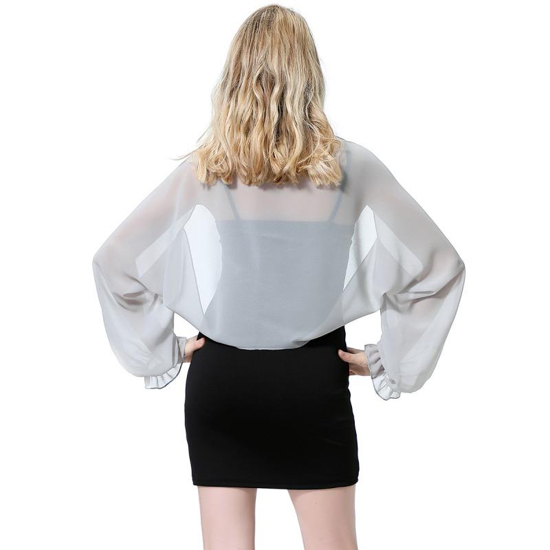 Womens-Long-Sleeve-Bolero-Shrug-Coat-Thin-Chiffon-Cropped-Cardigan-Top-Beach-Top thumbnail 36