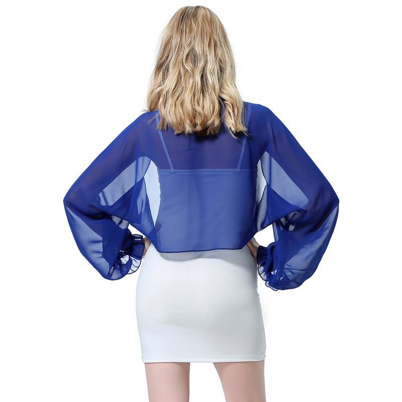Womens-Long-Sleeve-Bolero-Shrug-Coat-Thin-Chiffon-Cropped-Cardigan-Top-Beach-Top thumbnail 18