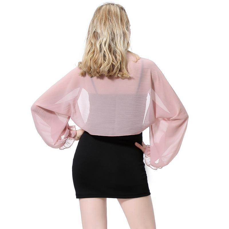 Womens-Long-Sleeve-Bolero-Shrug-Coat-Thin-Chiffon-Cropped-Cardigan-Top-Beach-Top thumbnail 31
