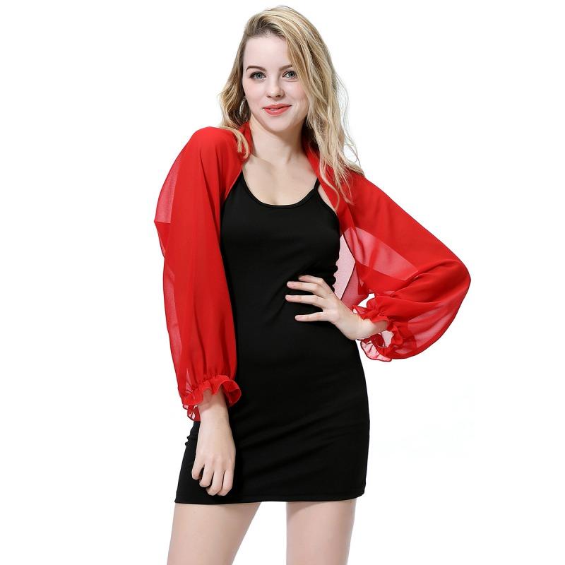 Womens-Long-Sleeve-Bolero-Shrug-Coat-Thin-Chiffon-Cropped-Cardigan-Top-Beach-Top thumbnail 13