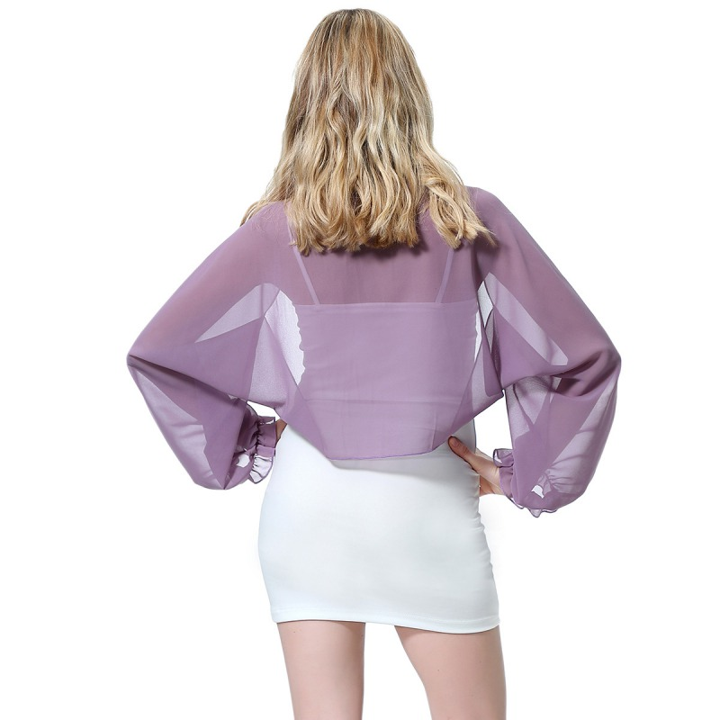 Womens-Long-Sleeve-Bolero-Shrug-Coat-Thin-Chiffon-Cropped-Cardigan-Top-Beach-Top thumbnail 29