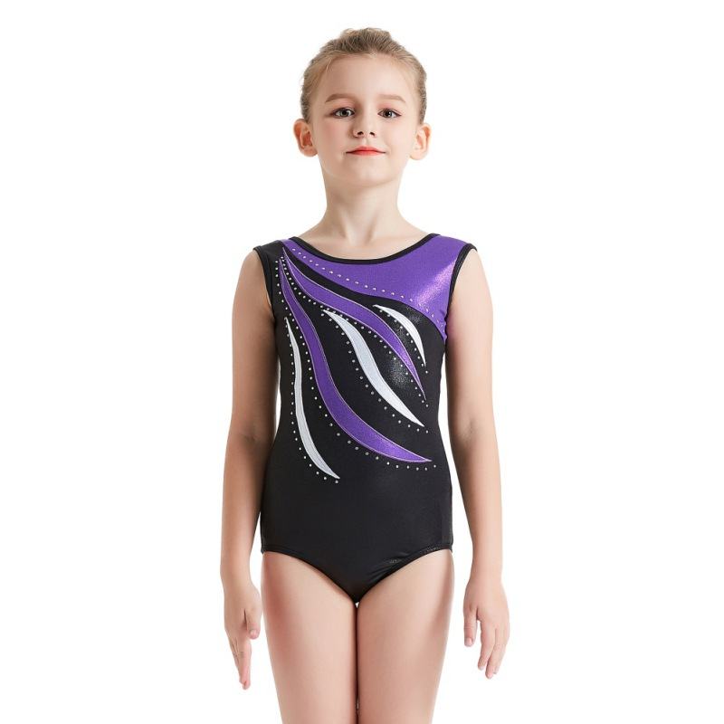 Youth-Girl-Ballet-Gym-Leotards-Flame-Print-Shiny-Sleeveless-Unitard-Skating-Suit thumbnail 15