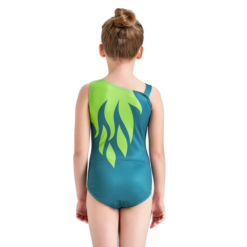 Youth-Girl-Ballet-Gym-Leotards-Flame-Print-Shiny-Sleeveless-Unitard-Skating-Suit thumbnail 25