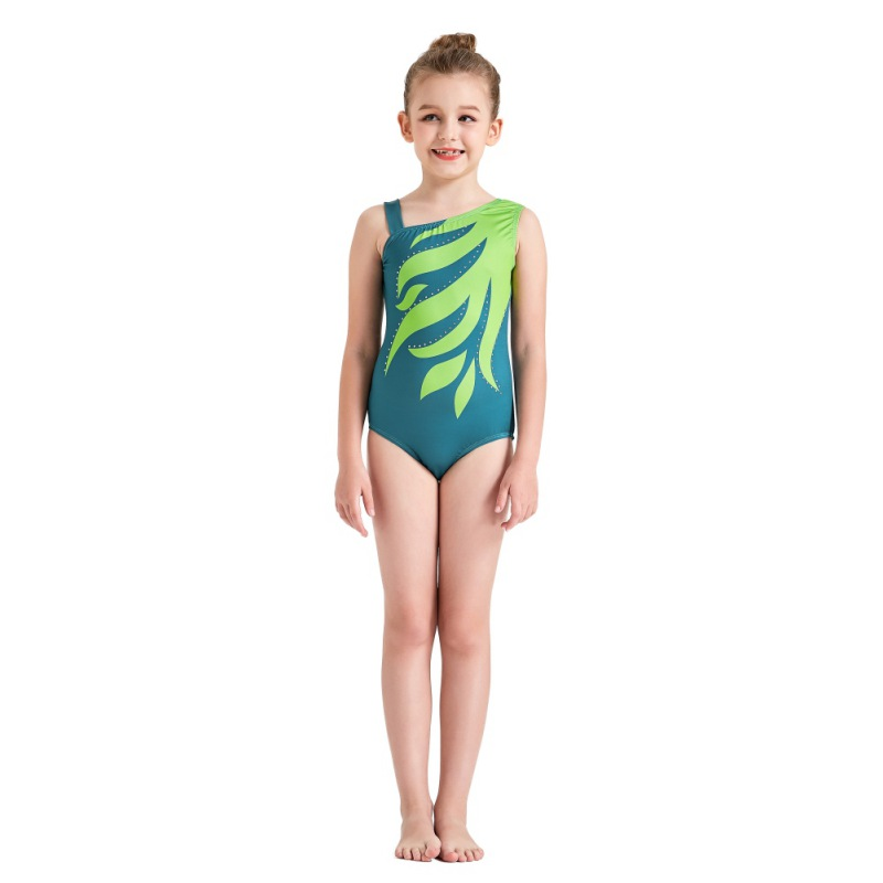 Youth-Girl-Ballet-Gym-Leotards-Flame-Print-Shiny-Sleeveless-Unitard-Skating-Suit thumbnail 24