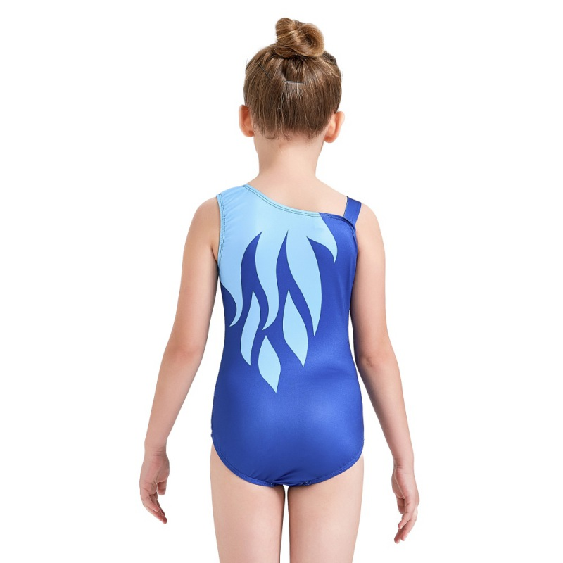 Youth-Girl-Ballet-Gym-Leotards-Flame-Print-Shiny-Sleeveless-Unitard-Skating-Suit thumbnail 19