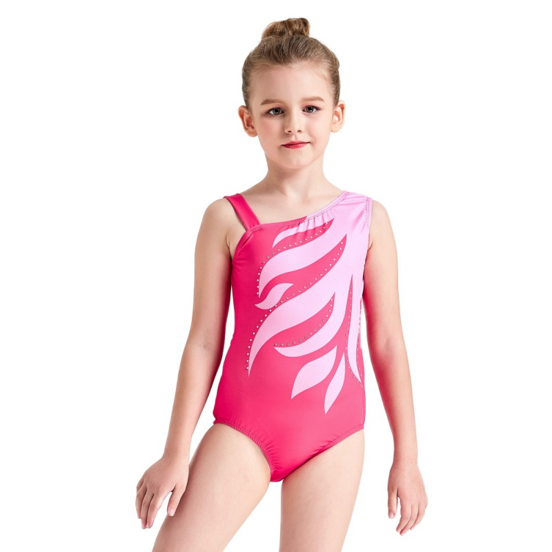 Youth-Girl-Ballet-Gym-Leotards-Flame-Print-Shiny-Sleeveless-Unitard-Skating-Suit thumbnail 27