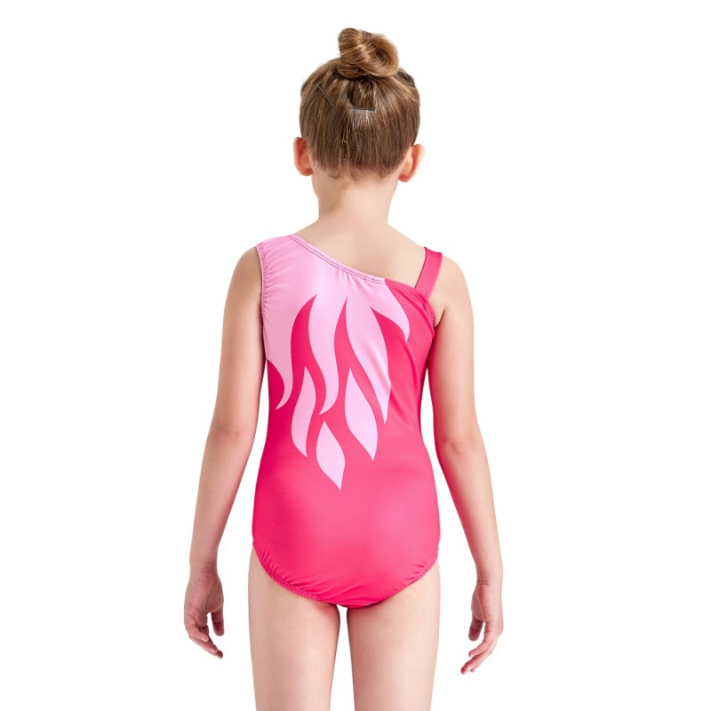 Youth-Girl-Ballet-Gym-Leotards-Flame-Print-Shiny-Sleeveless-Unitard-Skating-Suit thumbnail 28